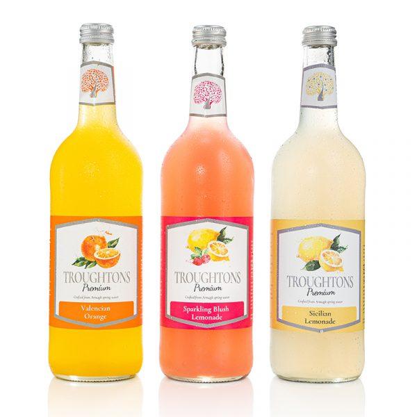 Troughtons Premium Sicilian Lemonade, Valencian Orange, Sparkling Blush Lemonade